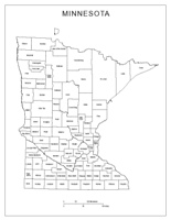 Labeled county Map of MN State