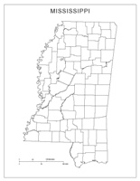 Blank county Map of MS State