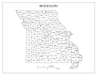 Labeled county Map of MO State