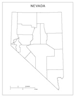 Blank county Map of NV State