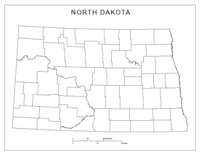 Blank county Map of ND State