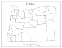 Blank county Map of OR State