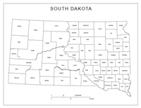 Labeled county Map of SD State