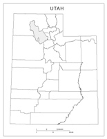 Blank county Map of UT State