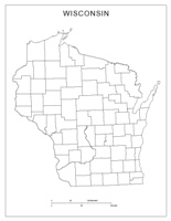Blank county Map of WI State