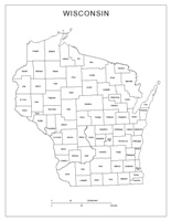 Labeled county Map of WI State