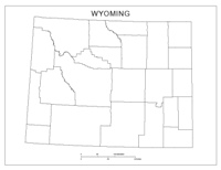 Blank county Map of WY State