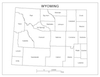 Labeled county Map of WY State