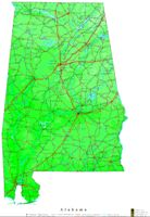 Contour elevation Map of AL State