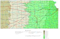 Contour elevation Map of KS State