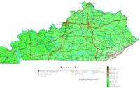 Contour elevation Map of KY State