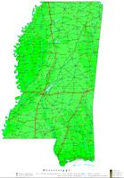 Contour elevation Map of MS State
