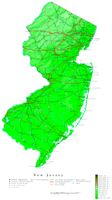 Contour elevation Map of NJ State