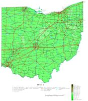 Contour elevation Map of OH State