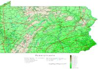 Contour elevation Map of PA State