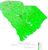 Contour elevation Map of SC State