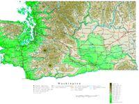 Contour elevation Map of WA State
