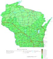 Contour elevation Map of WI State