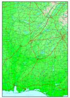 Elevation contour Map of AL State