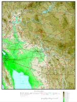 Elevation contour Map of AZ State