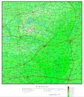 Elevation contour Map of AR State
