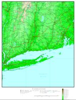 Elevation contour Map of CT State