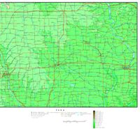 Elevation contour Map of IA State