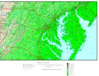 Elevation contour Map of MD State