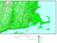 Elevation contour Map of MA State