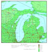 Elevation contour Map of MI State