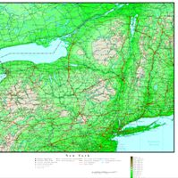 Elevation contour Map of NY State
