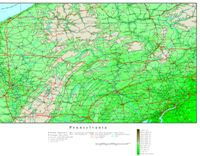Elevation contour Map of PA State