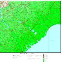 South Carolina Elevation Map
