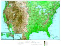 Elevation contour Map of USA States