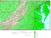 Elevation contour Map of VA State