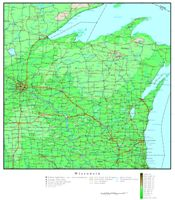 Elevation contour Map of WI State