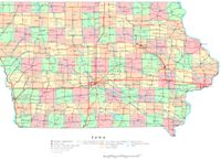 Printable political Map of IA State