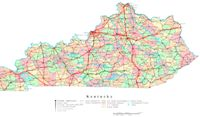 Printable political Map of KY State