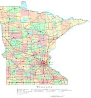 Printable political Map of MN State