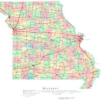 Printable political Map of MO State