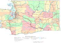 Printable political Map of WA State