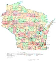 Printable political Map of WI State