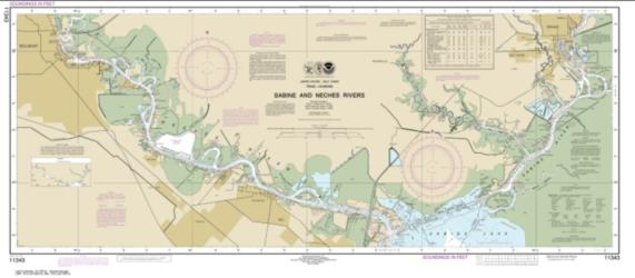 Buy map Sabine and Neches Rivers Nautical Chart (11343) by NOAA from Texas Maps Store