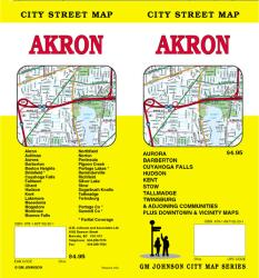Buy map Akron and Summit County, Ohio by GM Johnson from Ohio Maps Store