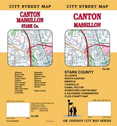 Buy map Canton, Massillon and Stark County, Ohio by GM Johnson from Ohio Maps Store