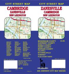 Buy map Zanesville, Cambridge and New Lexington, Ohio by GM Johnson from Ohio Maps Store
