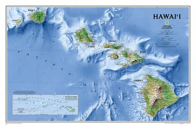 Buy map Hawaii, Tubed by National Geographic Maps from Hawaii Maps Store