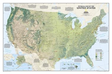Buy map United States, Physical, Tubed by National Geographic Maps from United States Maps Store