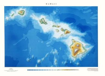Buy map Hawaii, Physical, laminated by Raven Press from Hawaii Maps Store