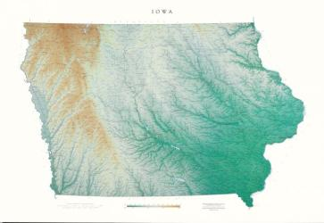 Buy map Iowa, Physical, laminated by Raven Press from Iowa Maps Store